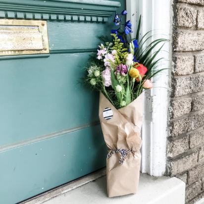 Blue Ribbon Floral Arrangement